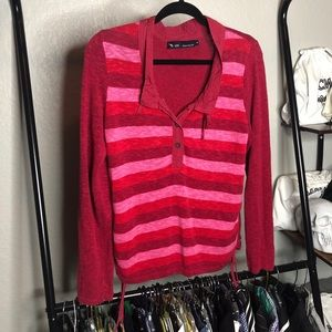 Blue Willi's Pink Striped Lined Blend Sweater